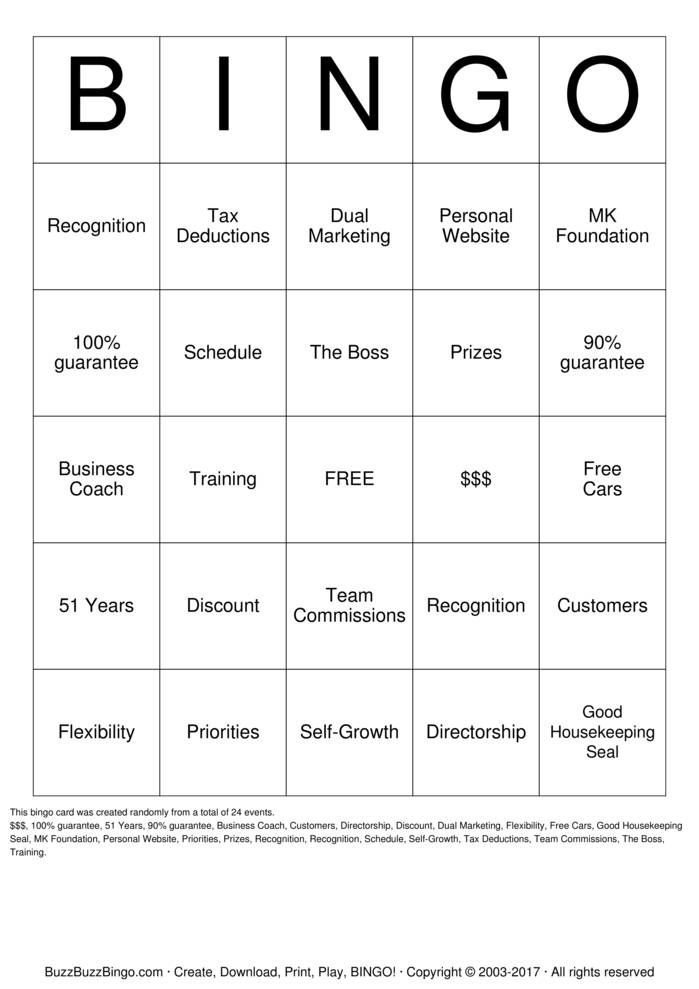 Mary Kay Marketing Bingo Card