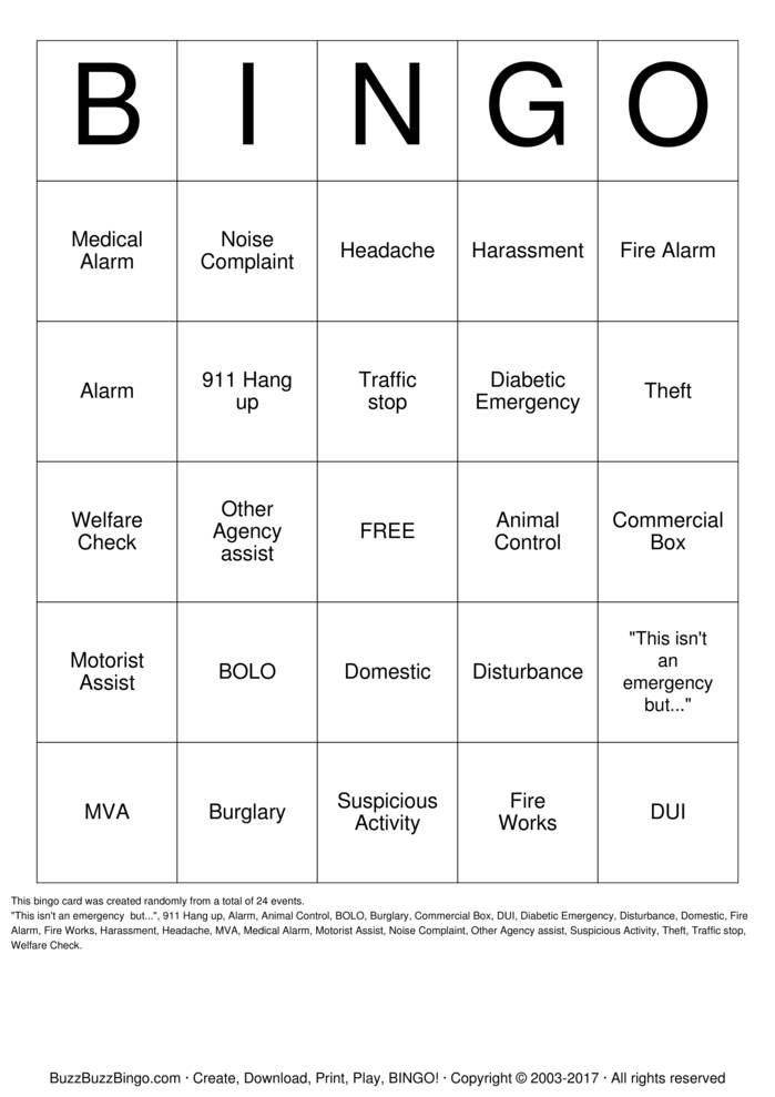Download Dispatch Bingo! Bingo Cards