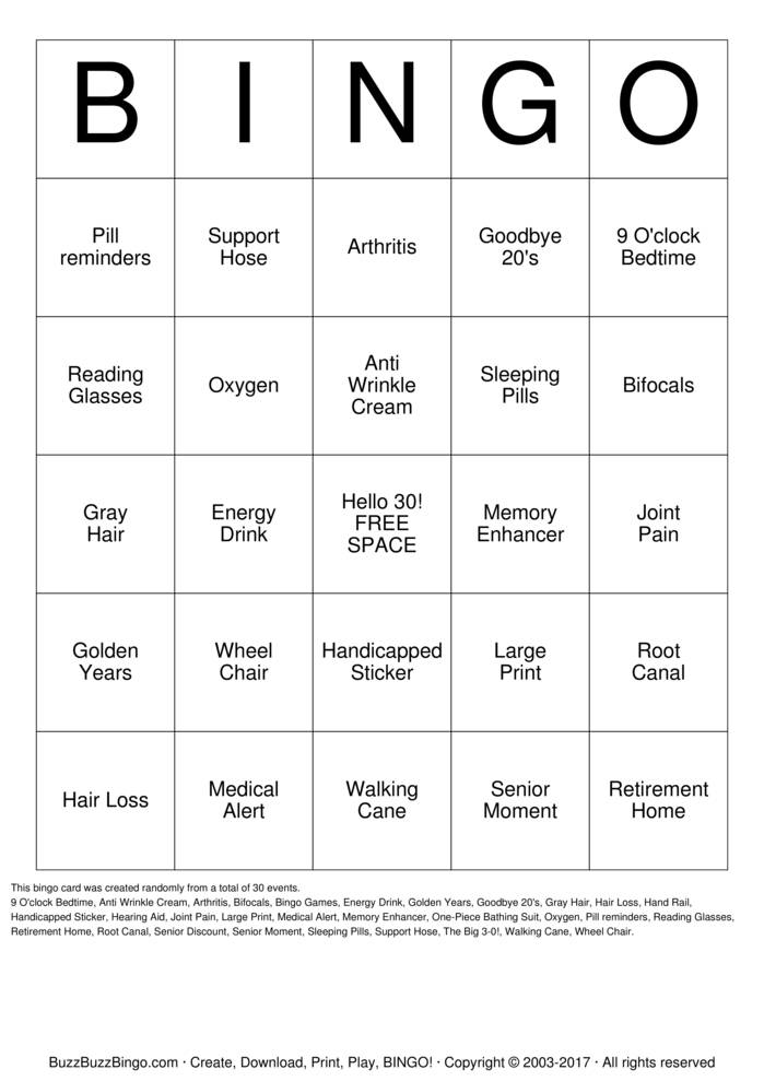 Download ERIN'S 30th Birthday! Bingo Cards