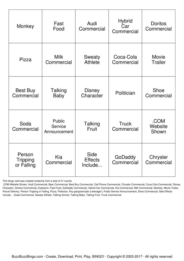 Download Superbowl Commercials Bingo Bingo Cards