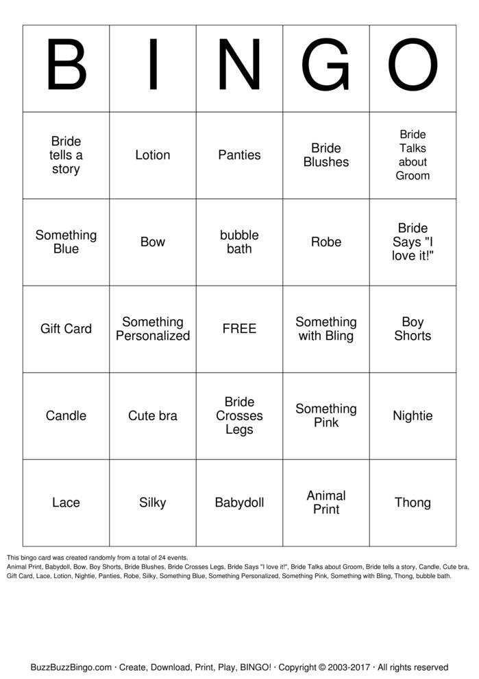 Download Larisa's Lingerie Party Bingo Cards