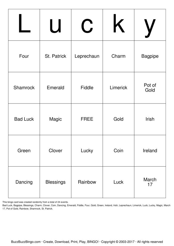 Download Lucky Bingo Cards