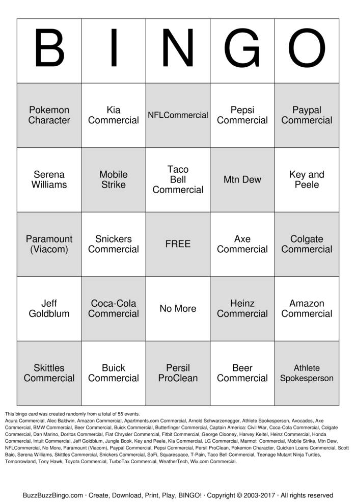 2016 Superbowl Commercials Bingo Cards to Download, Print and ...