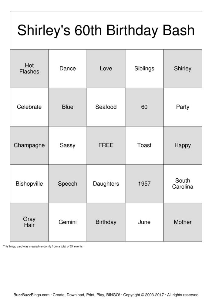Download 60th Birthday  Bingo Cards