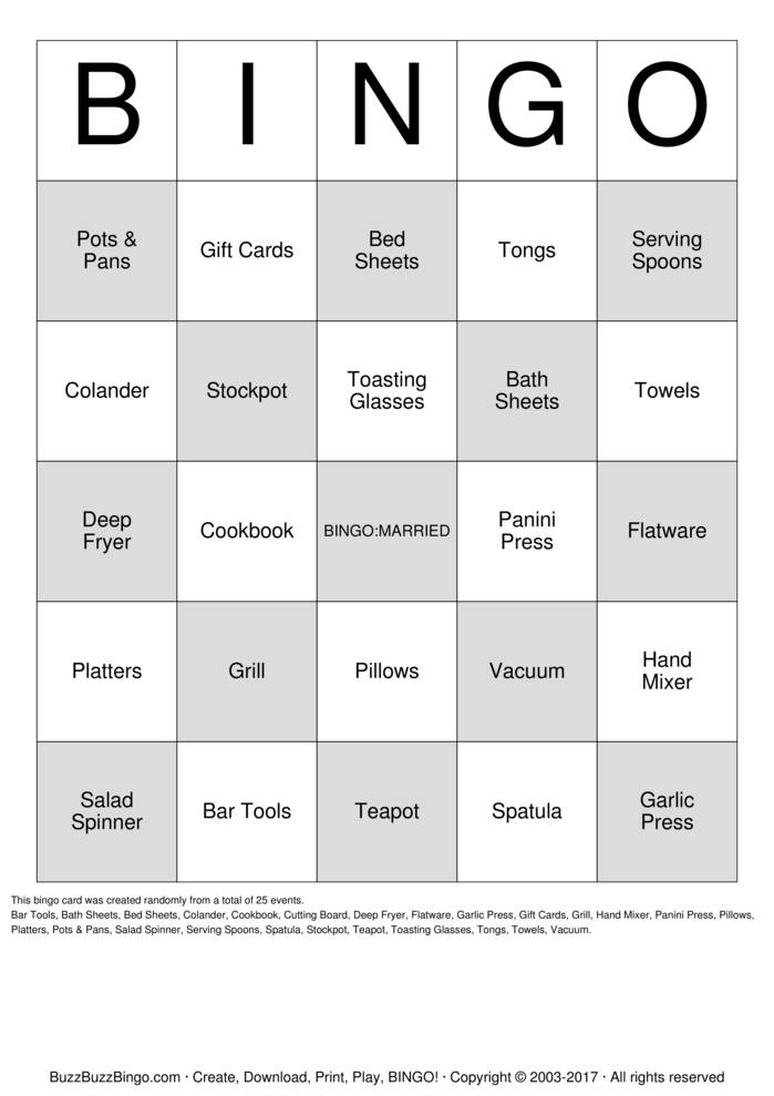 Free Download Free Printable Bridal Bingo Cards