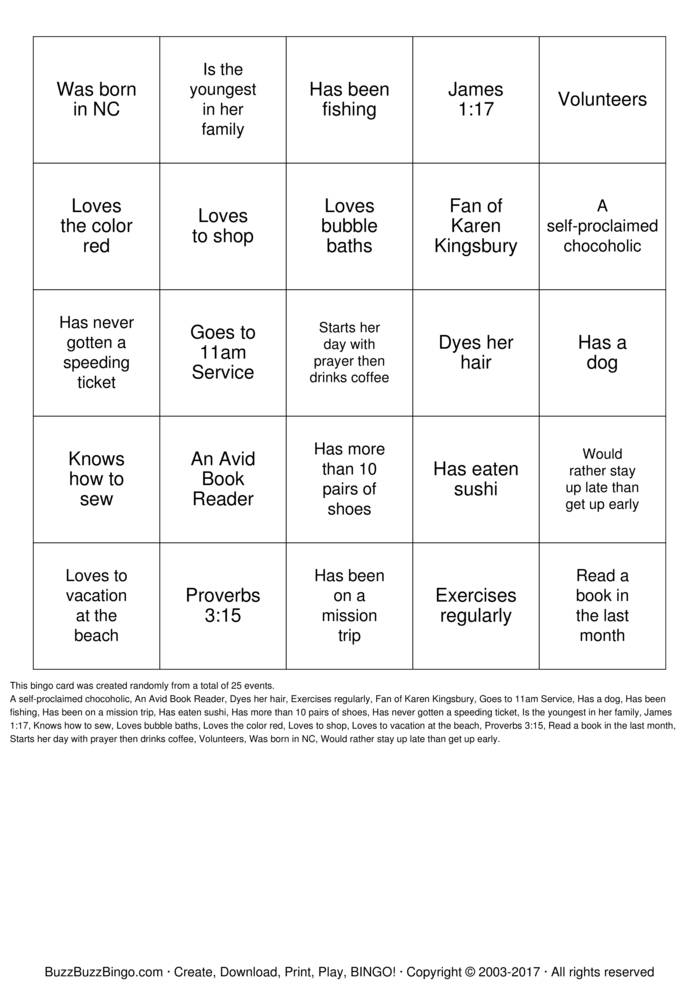 Download WOMEN'S MINISTRY BINGO Bingo Cards