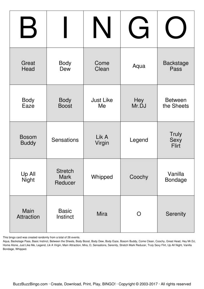 Download PURE ROMANCE Bingo Bingo Cards