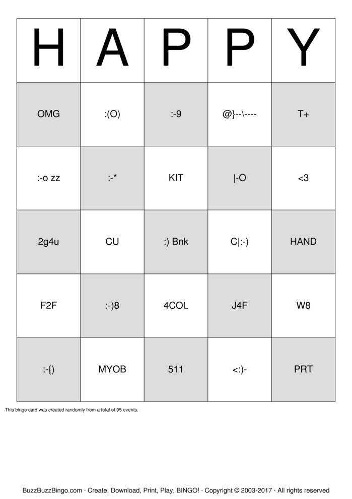 Download Texting Abbreviation Bingo Cards