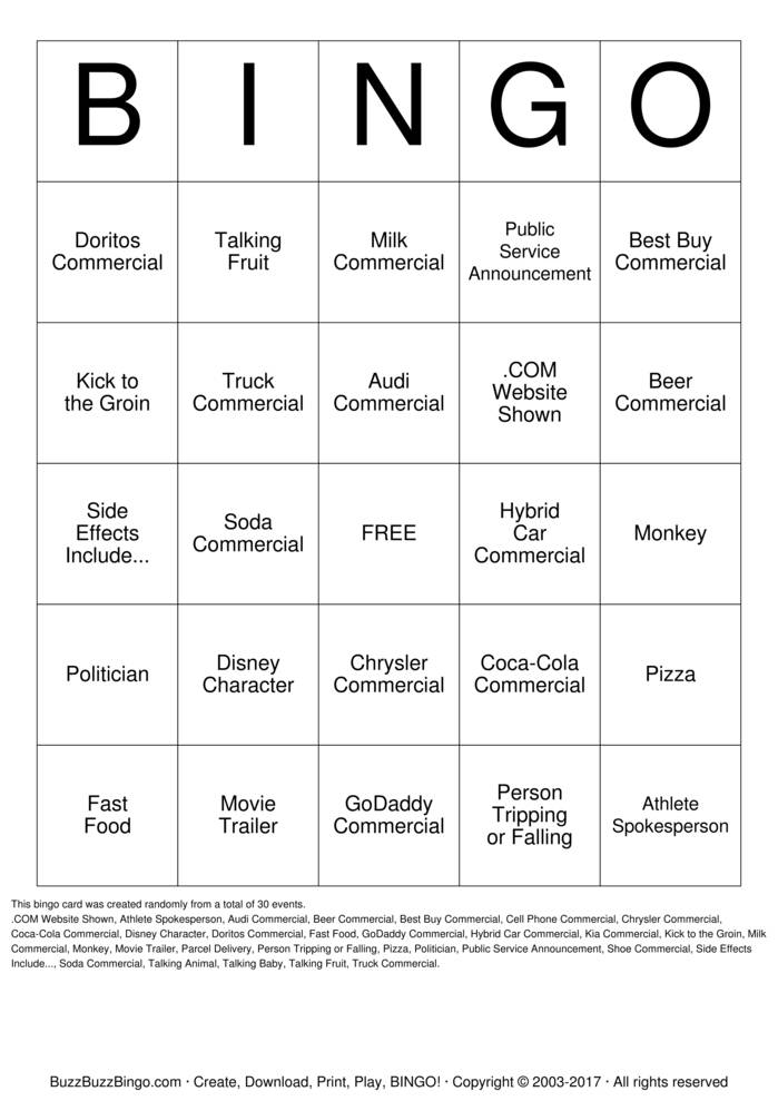 Download 2013 Superbowl Commercials Bingo Cards