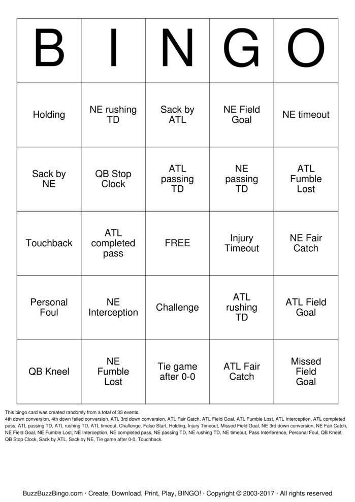 2017 Superbowl NE vs ATL Bingo Card