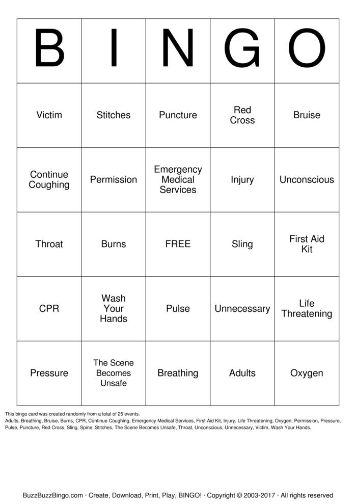 First Aid Bingo Bingo Card