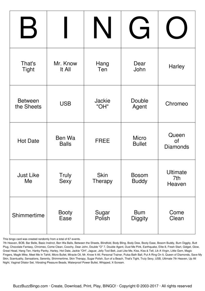 Download PURE ROMANCE Bingo Cards
