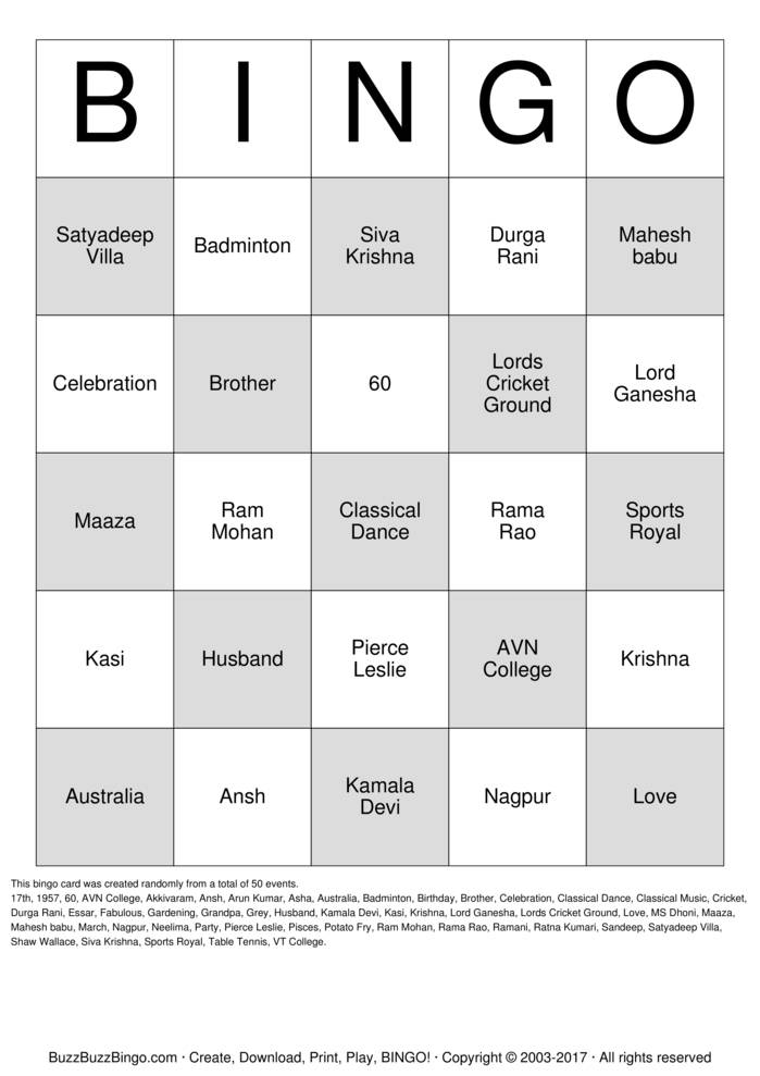Download Satya's 60th Birthday Bingo Cards
