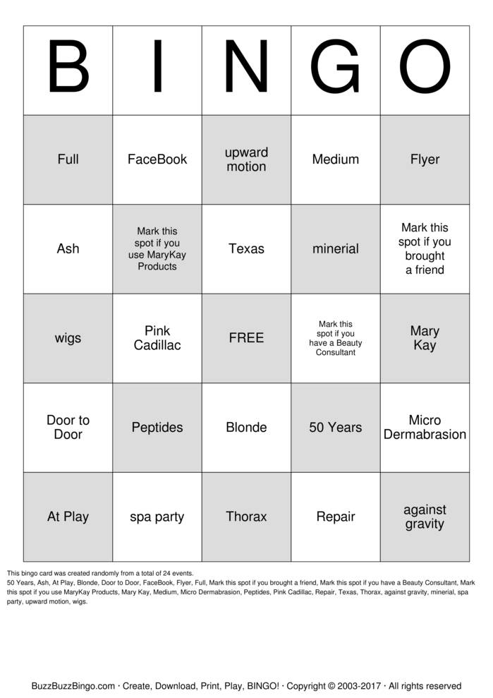 Spa Party Bingo Cards To Download Print And Customize
