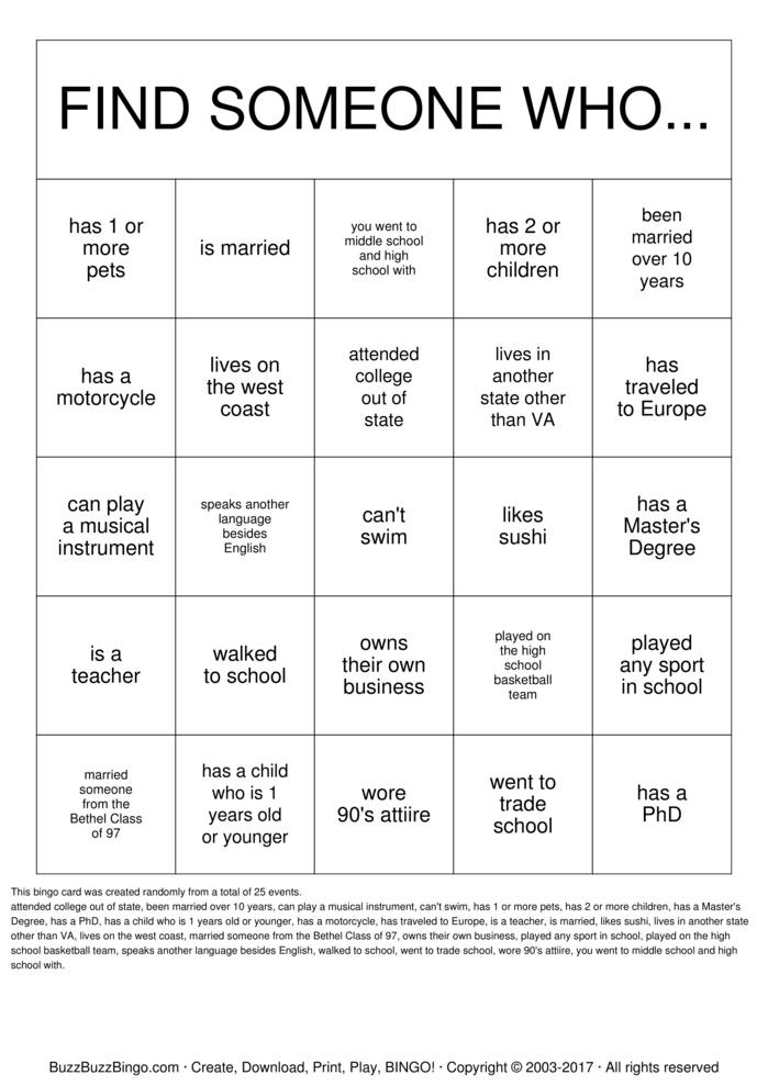 Download Getting to Know you! Bingo Cards