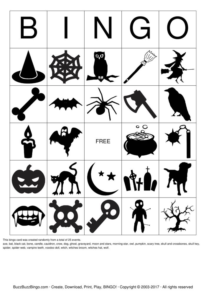 Halloween Images Bingo Card