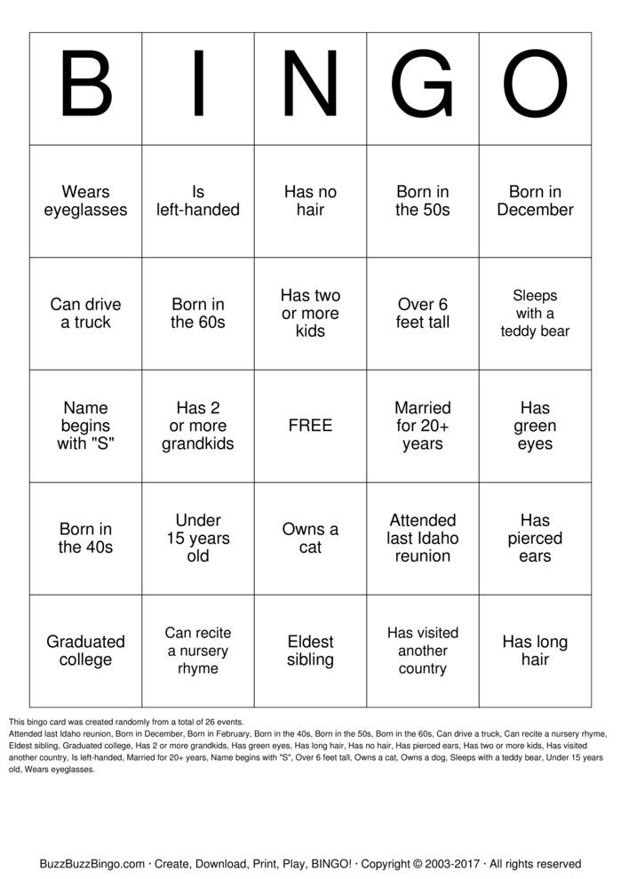 Download JESUS FAMILY REUNION  BINGO Bingo Cards