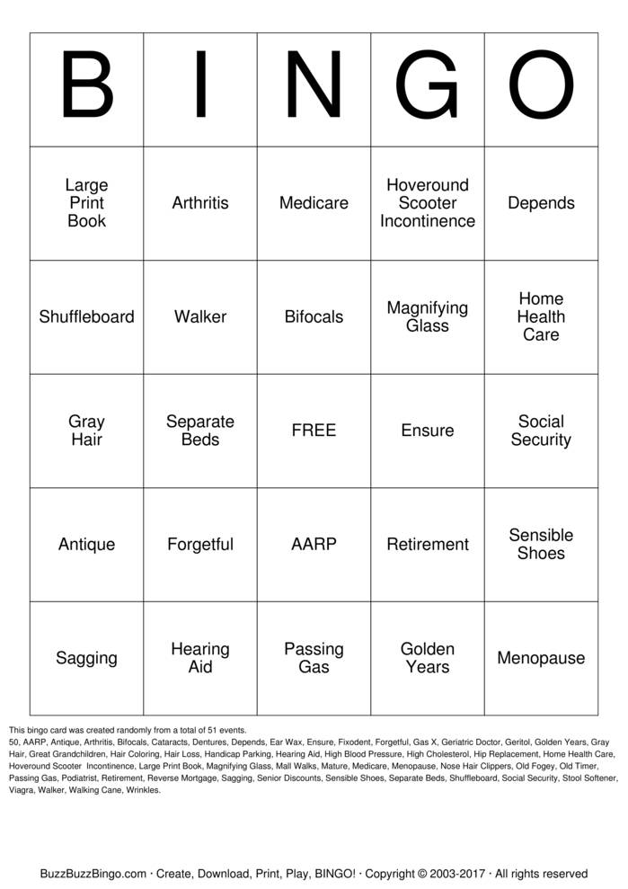 Over The Hill Bingo Cards To Download Print And Customize