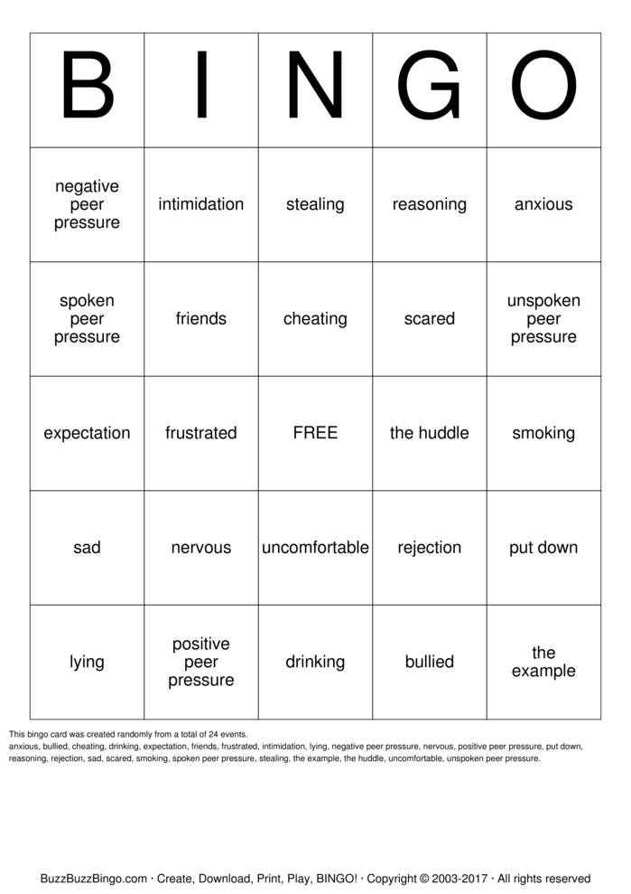 bullying Bingo Cards to Download, Print and Customize!