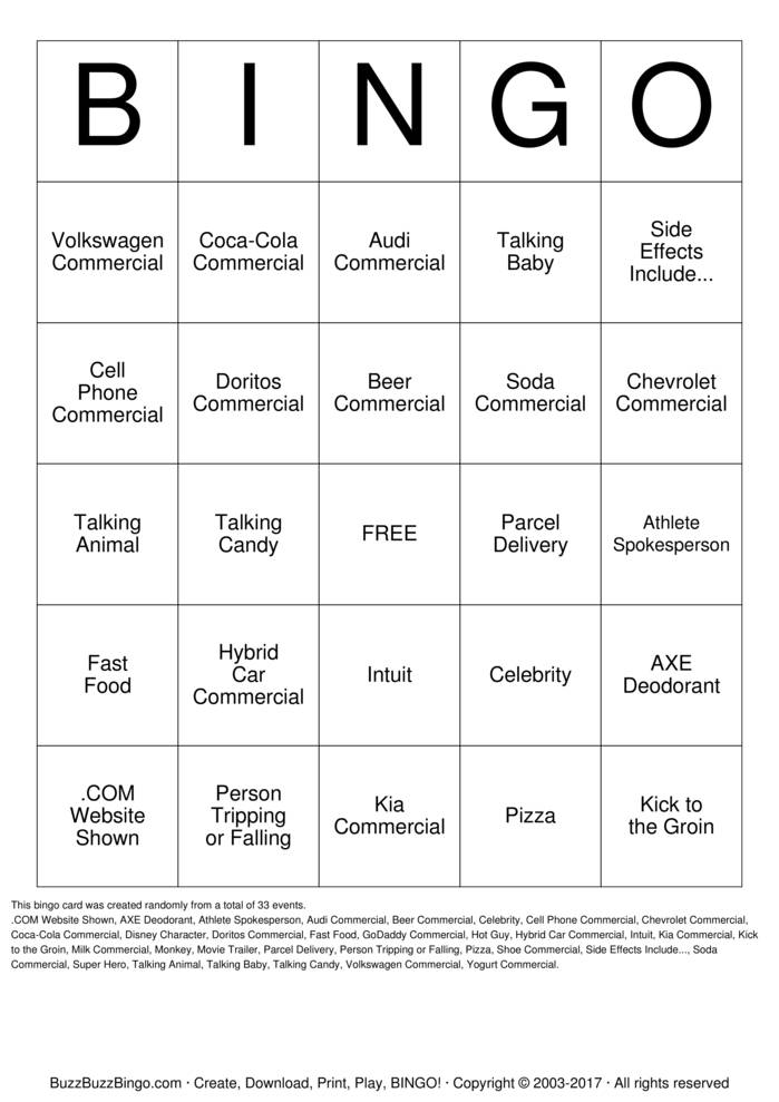 2014 Superbowl Commercials Bingo Cards to Download, Print and ...