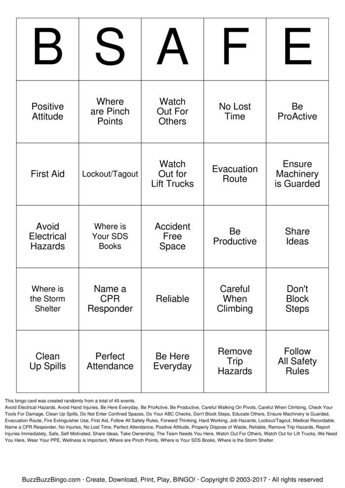 Download AST Attendance /Safety Bingo Bingo Cards