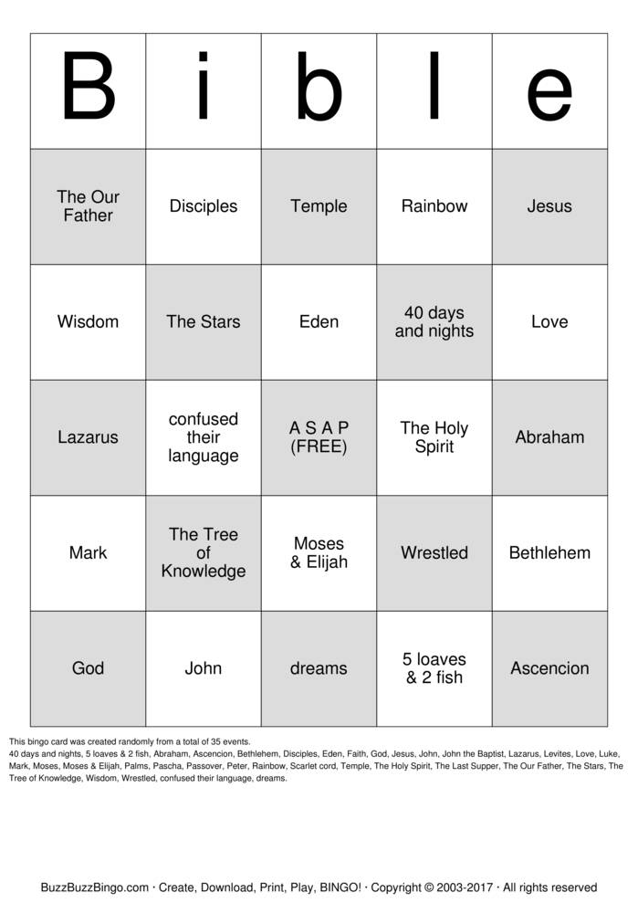 Bible Bingo Cards To Download Print And Customize