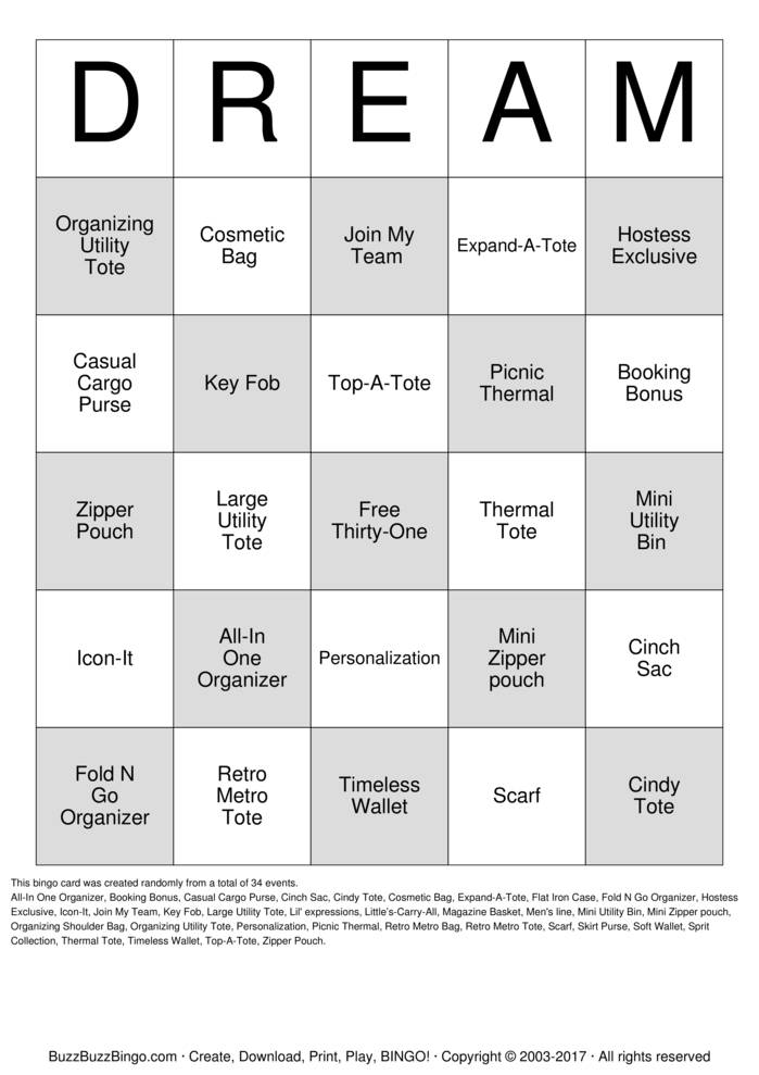 Download DREAM Bingo Cards