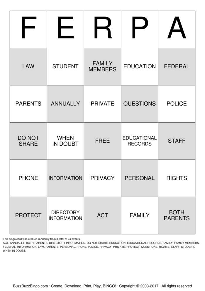 Download FERPA  Bingo Cards