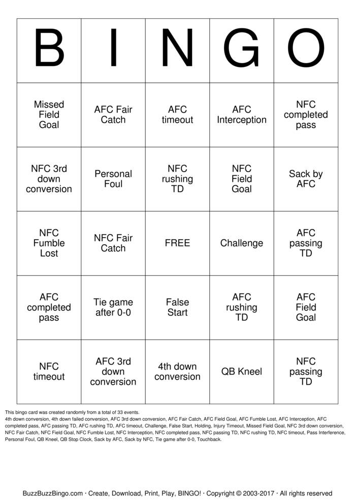 Football Bingo Card