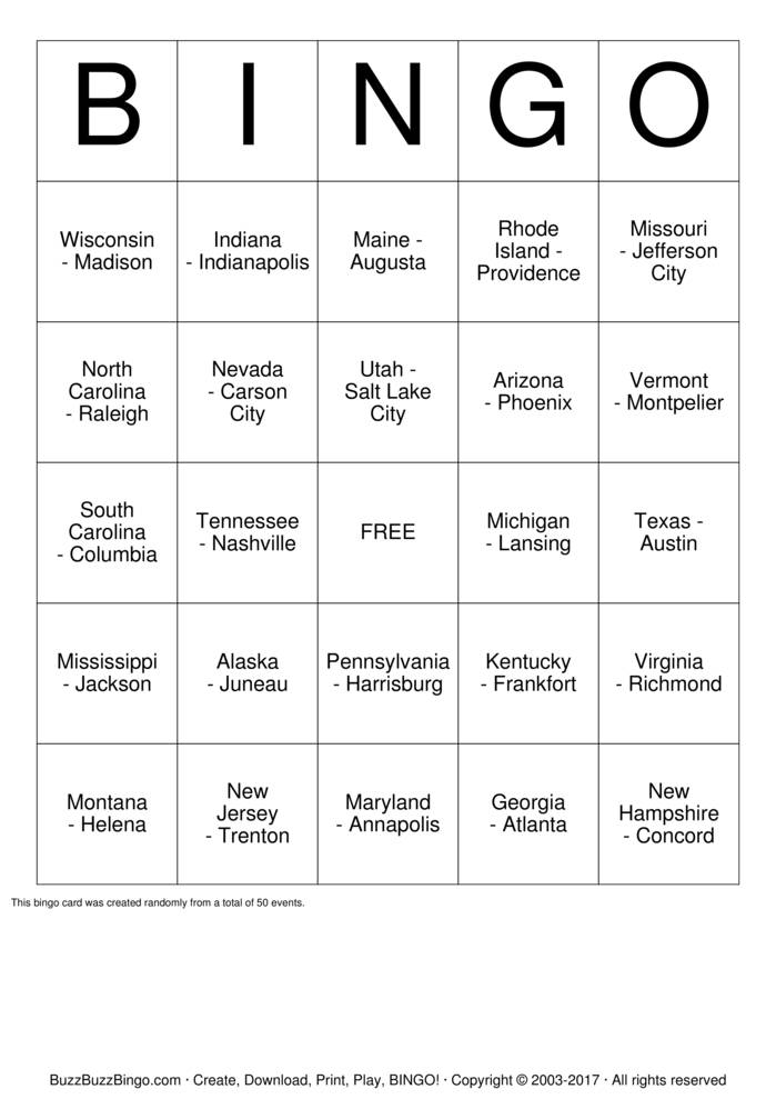 US States and Capitals Bingo Card