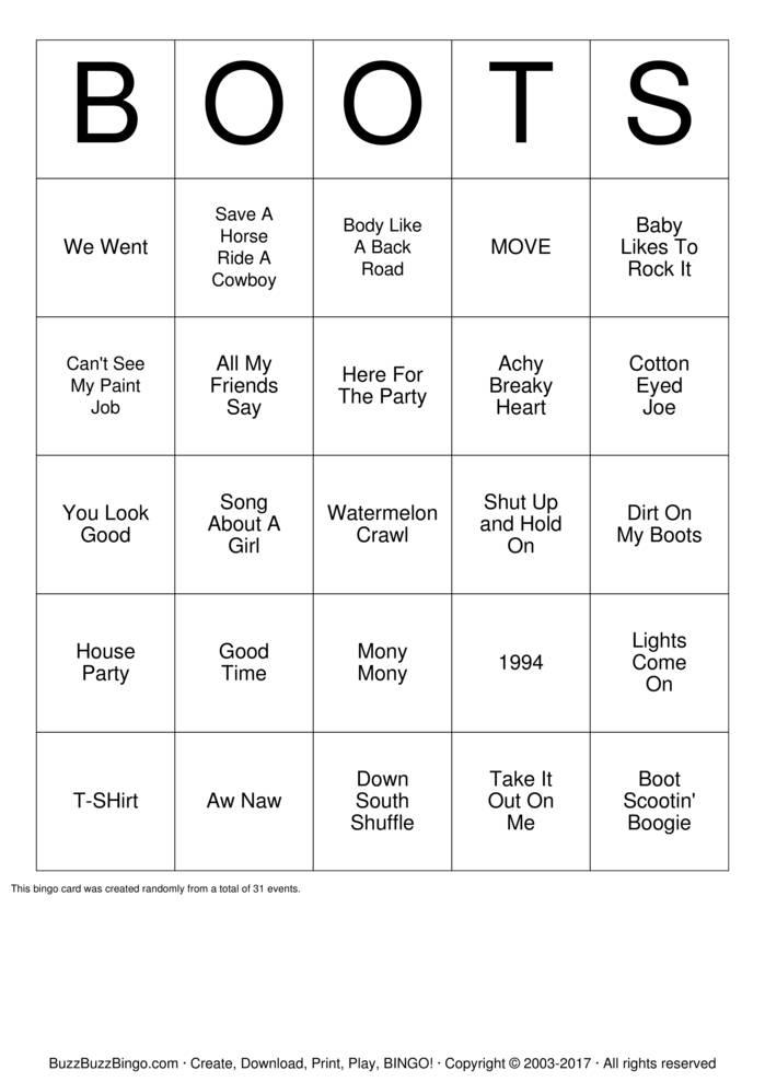 Download Boot Scootin' Bingo Bingo Cards