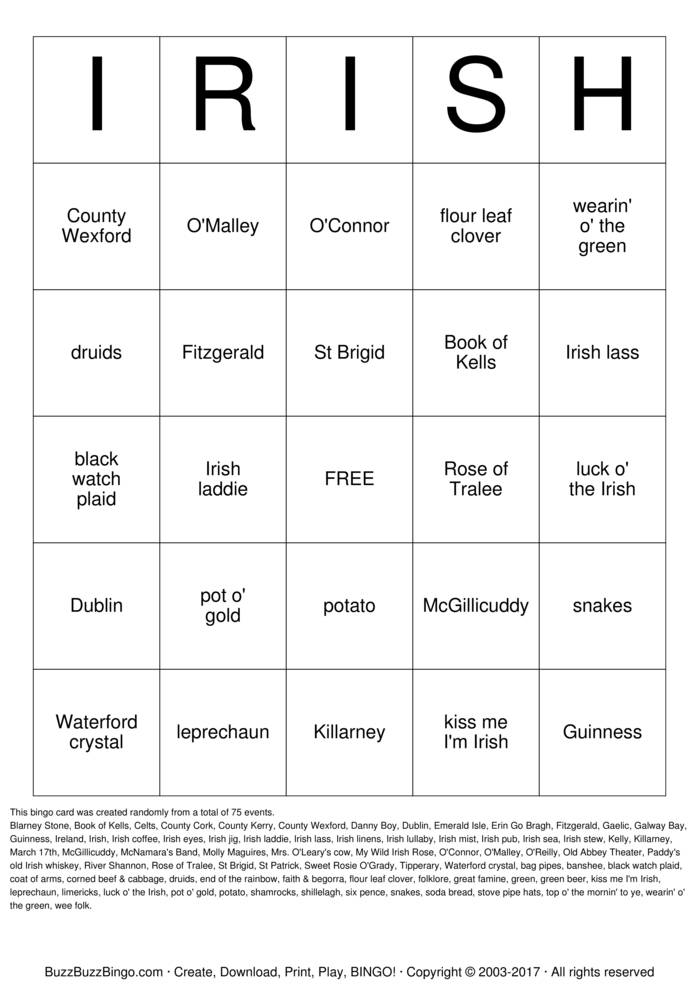 Download IRISH Bingo Cards