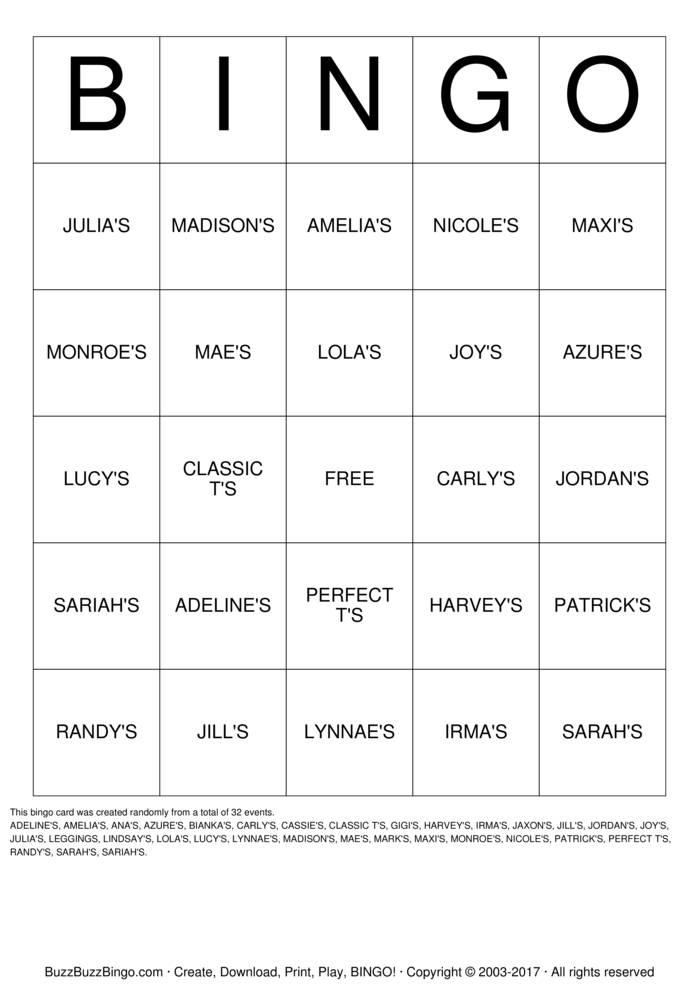 Download LULAROE BINGO Bingo Cards