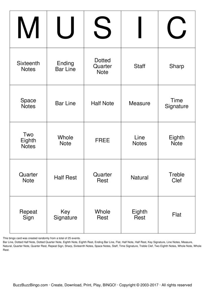 Invaluable image within musical bingo cards printable