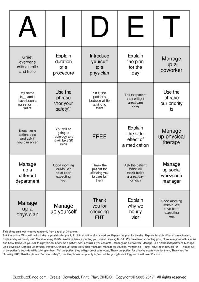Download AIDET Bingo Cards