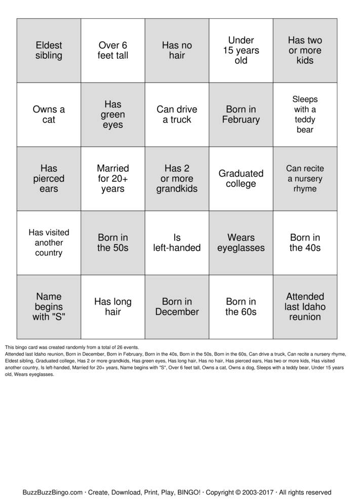 Free printable bingo cards activities pinterest human bingo.