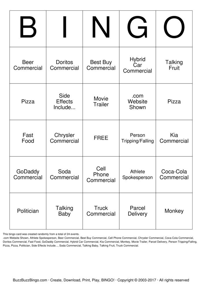 Super Bowl 2013 Commercial Bingo Cards to Download, Print and ...