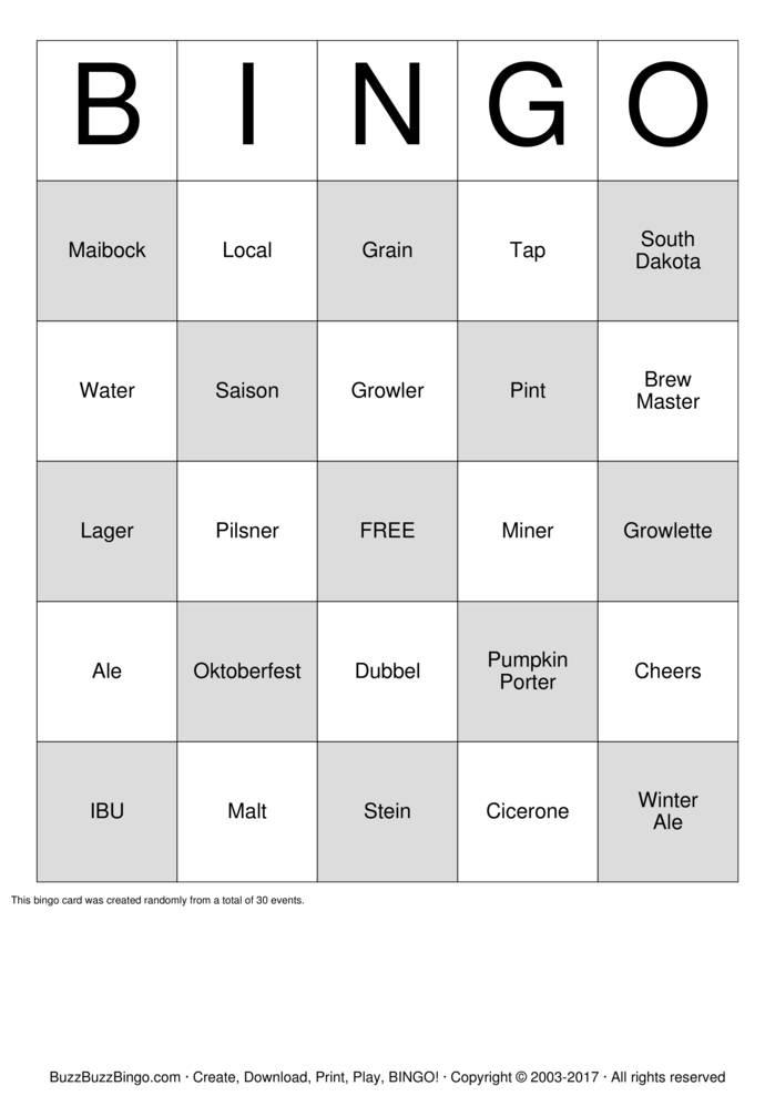 Download Beer  Bingo Cards