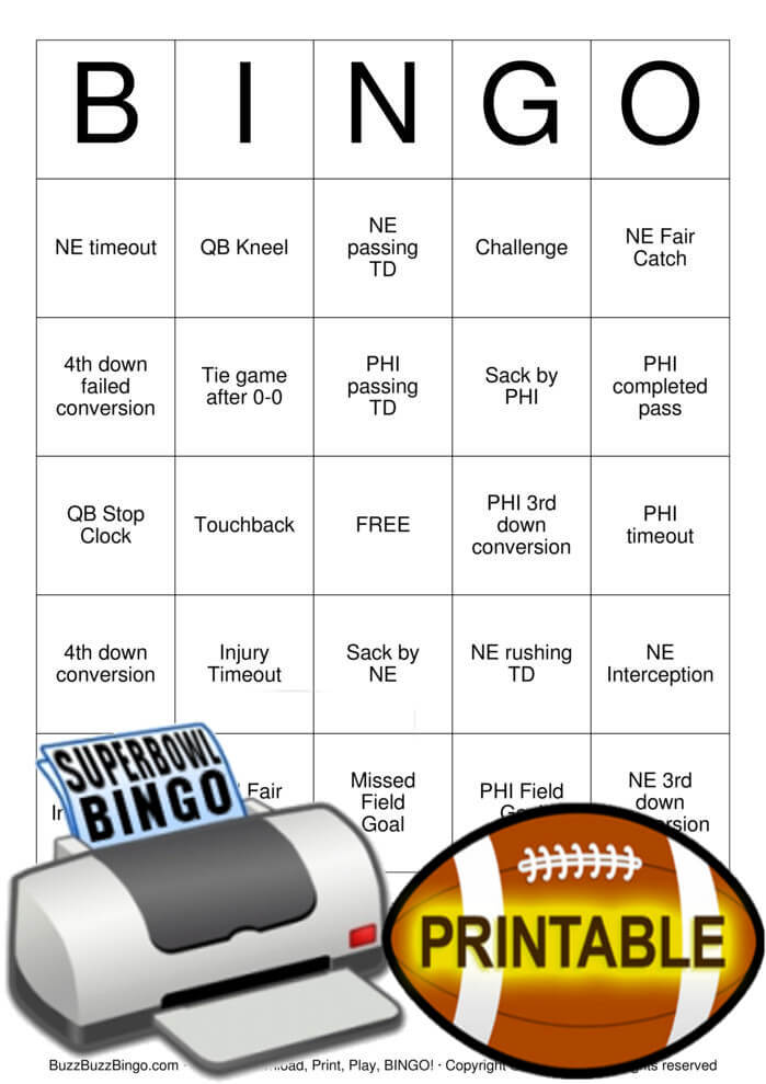 Download 2018 Superbowl NE vs PHI Bingo Cards