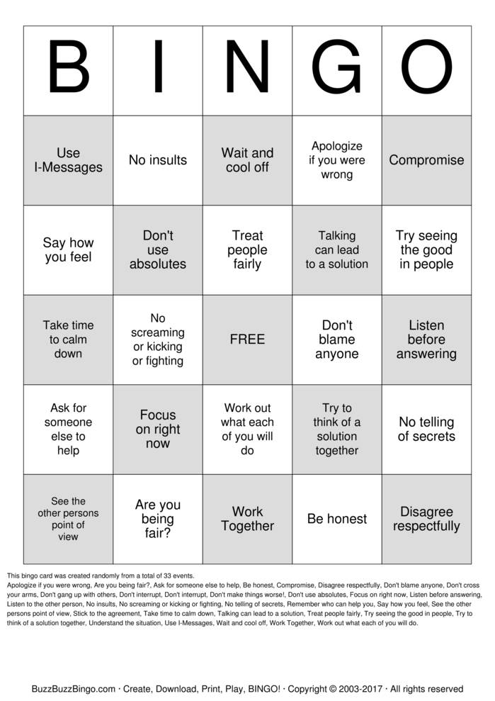 Download Conflict Resolution Bingo Cards