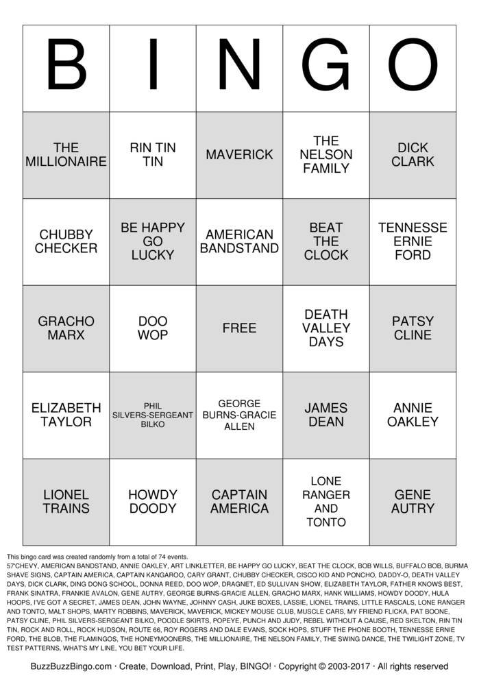 american games bingo cards