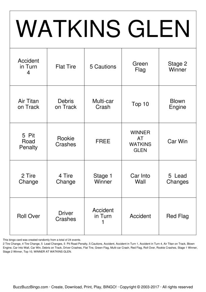 Download NASCAR Bingo Cards