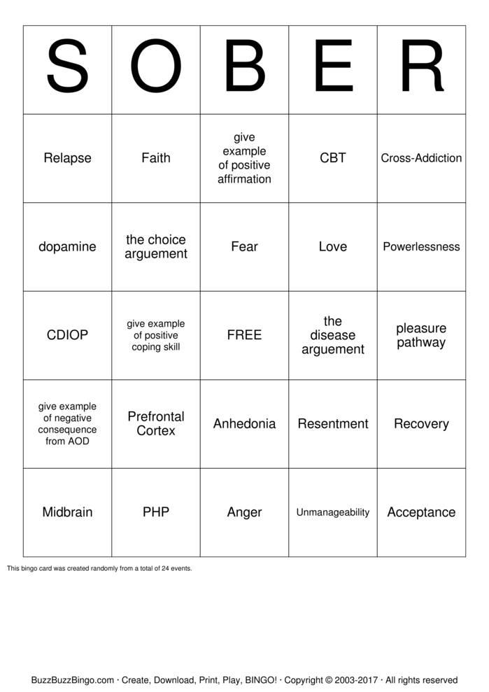 Recovery Bingo Cards to Download, Print and Customize!