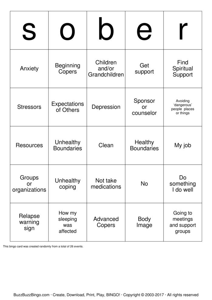 Recovery Bingo Cards To Download Print And Customize