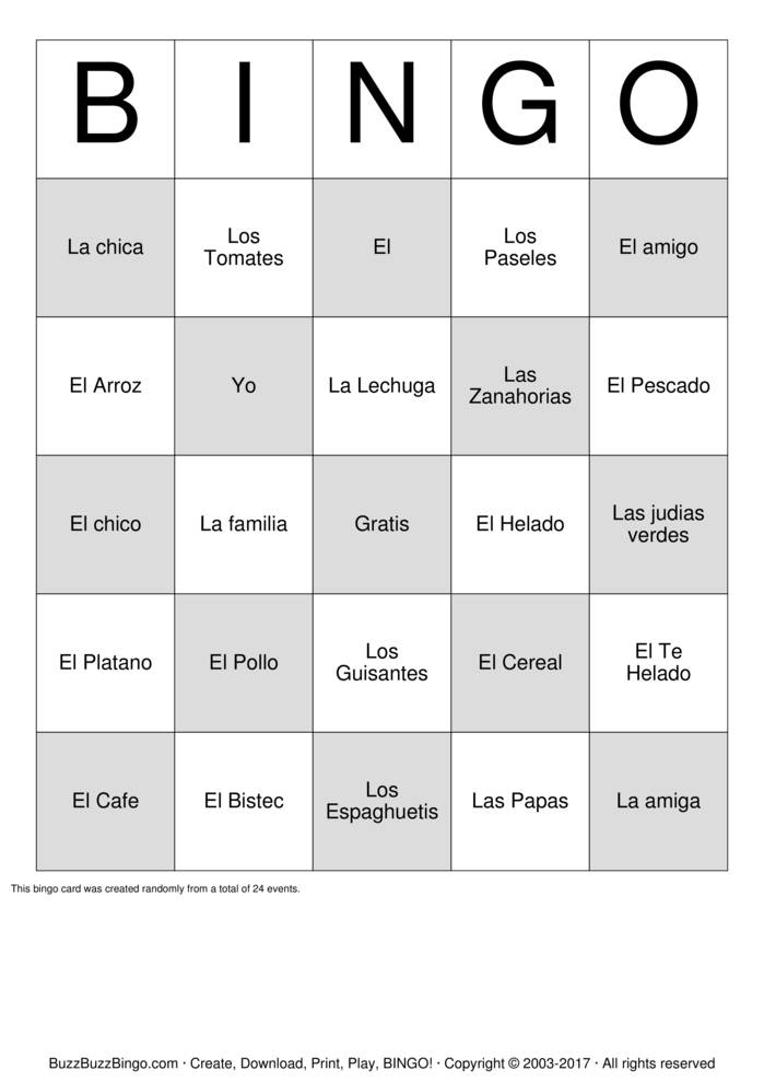 Spanish Bingo Cards to Download, Print and Customize!