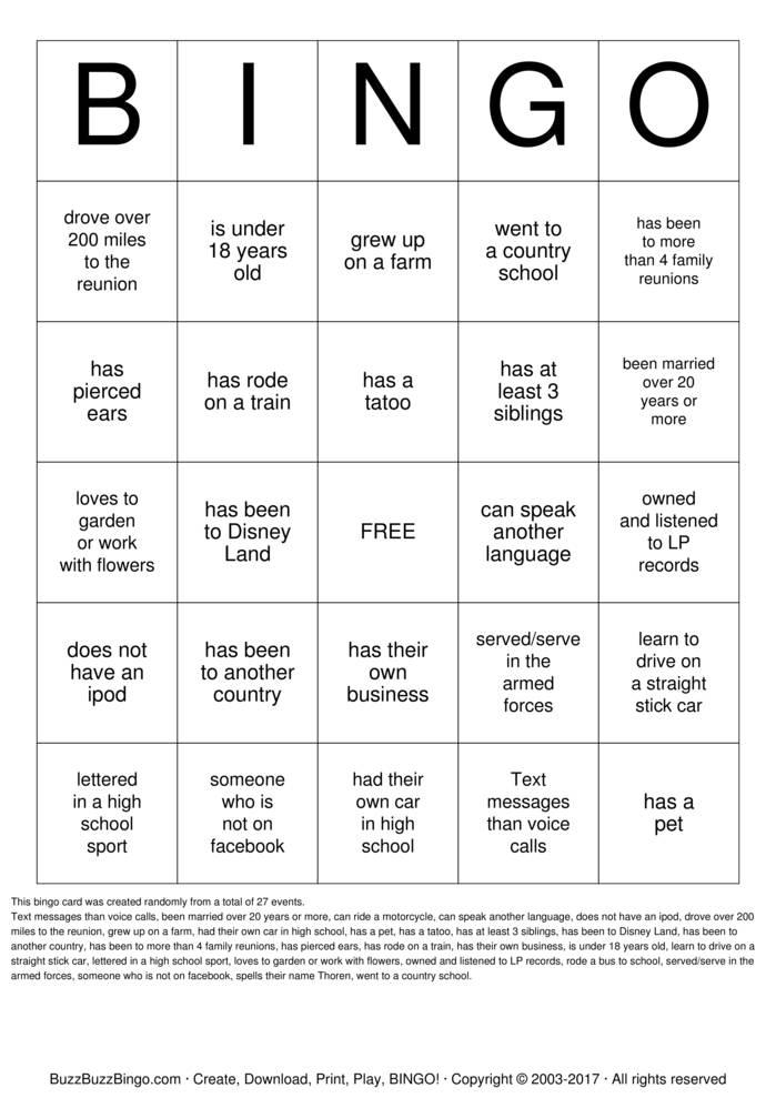 Download Family Reunion Bingo Bingo Cards