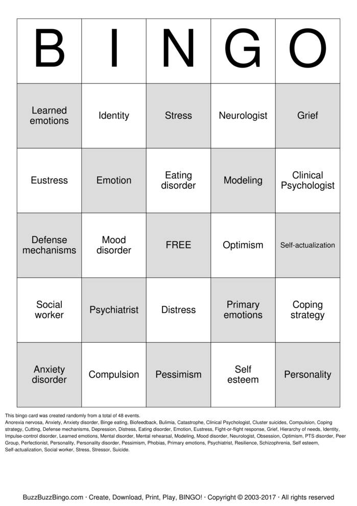 Download Mental Health Bingo Cards