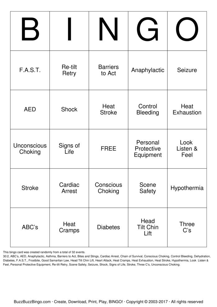 Download CPR/First Aid  Bingo Cards