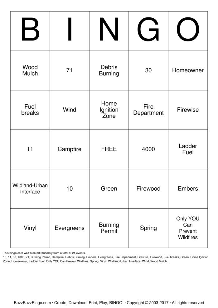 Download Firewise  Bingo Cards