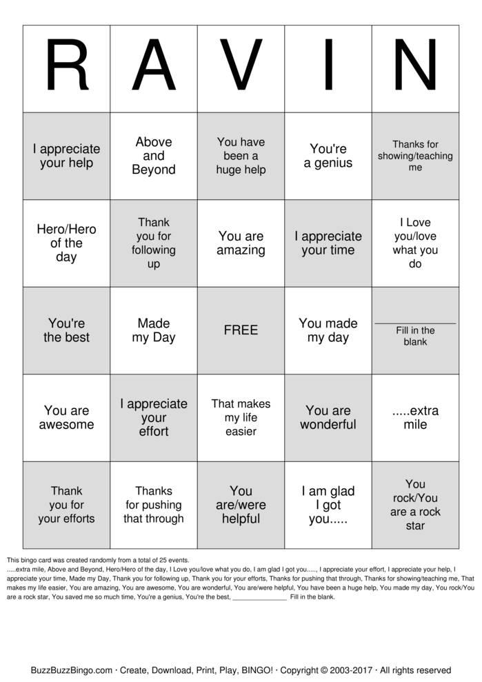 Download RAVING Bingo Cards
